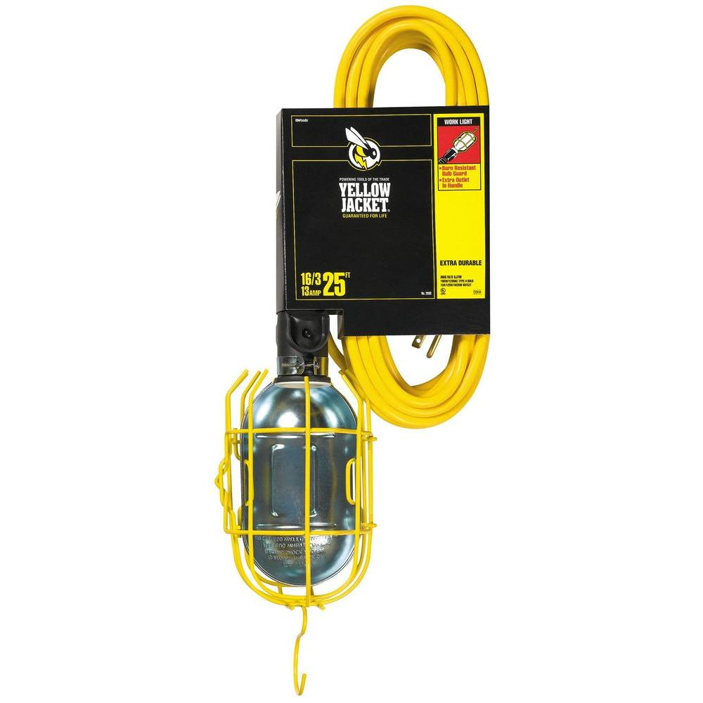Yellow Jacket 75-Watt 25 ft. 16/3 SJT Incandescent Portable Guarded Trouble Work Light with Dual Hanging Hooks