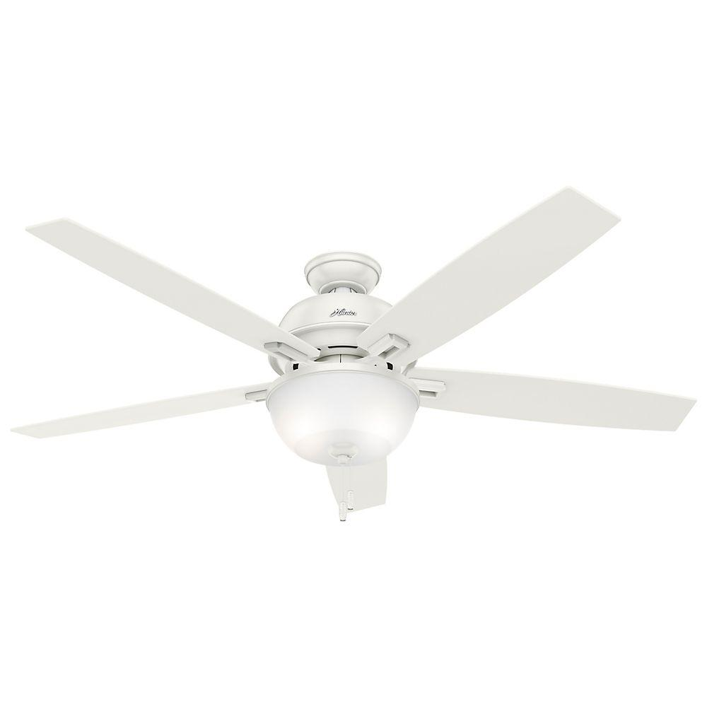 Charming Hunter White Fan Part - 13: Hunter Donegan 60 In. LED Indoor Fresh White Ceiling Fan With Light Kit