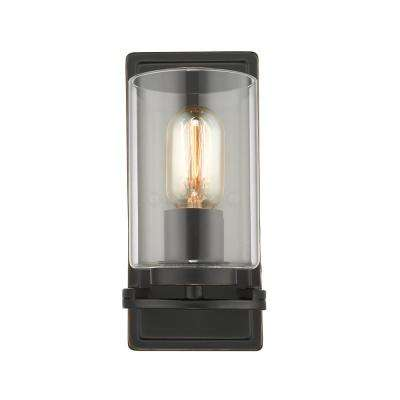 Monroe 1-Light Black with Clear Glass Wall Sconce