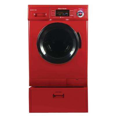 All-in-One 1.6 cu. ft. Compact Washer Dryer Combo with Optional Condensing/Venting, Sensor Dry with Pedestal in Merlot