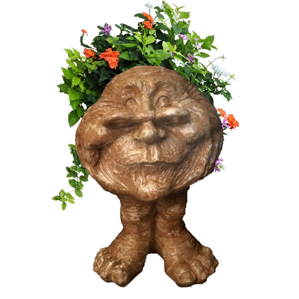 14 in. Stone Wash Grandma Rose the Muggly Statue Face Planter