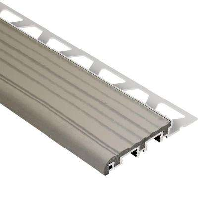 Trep-B Aluminum with Grey Insert 5/16 in. x 8 ft. 2-1/2 in. Metal Stair Nose Tile Edging Trim