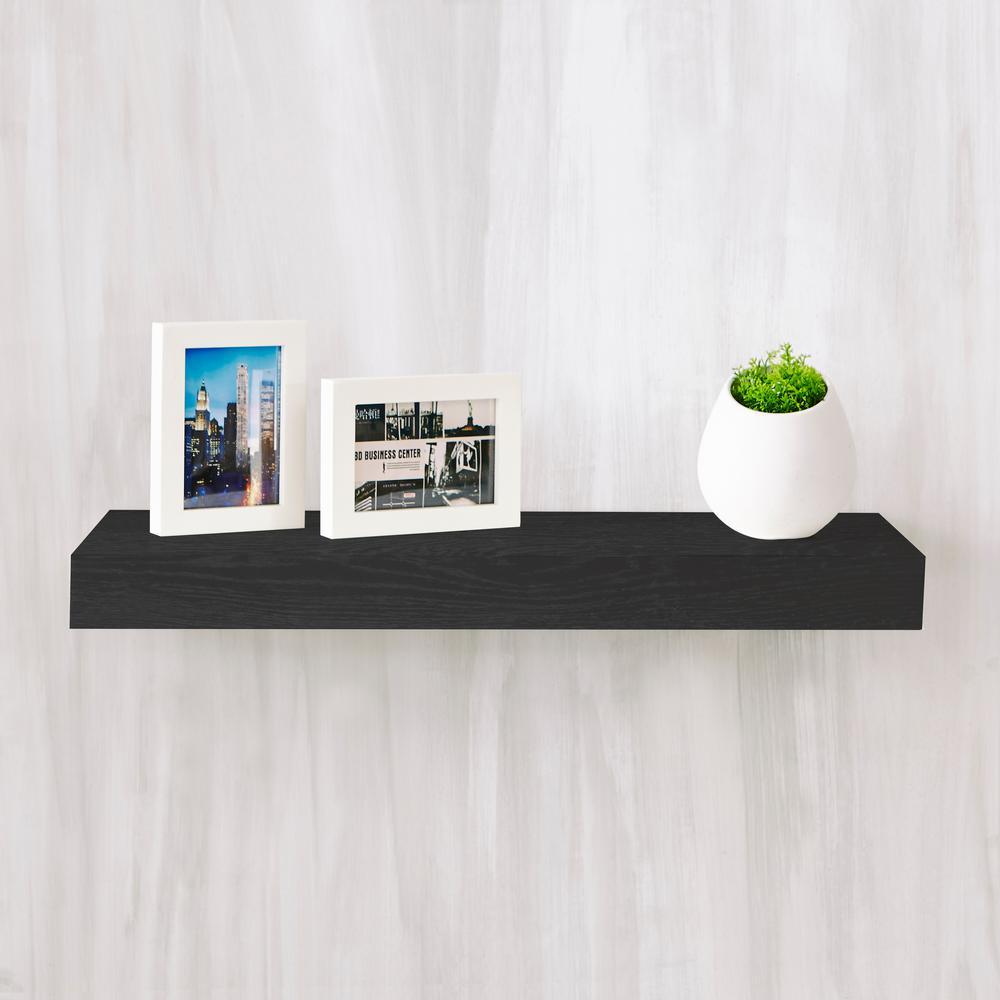 Ravello 24 in. x 2 in. zBoard  Wall Shelf Decorative Floating Shelf in Black Wood Grain