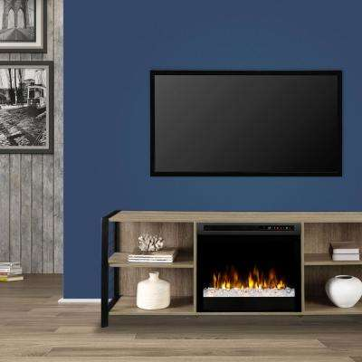 Asher 65 in. Media Console in Tudor Oak with 23 in. Electric Fireplace with Glass Ember Bed