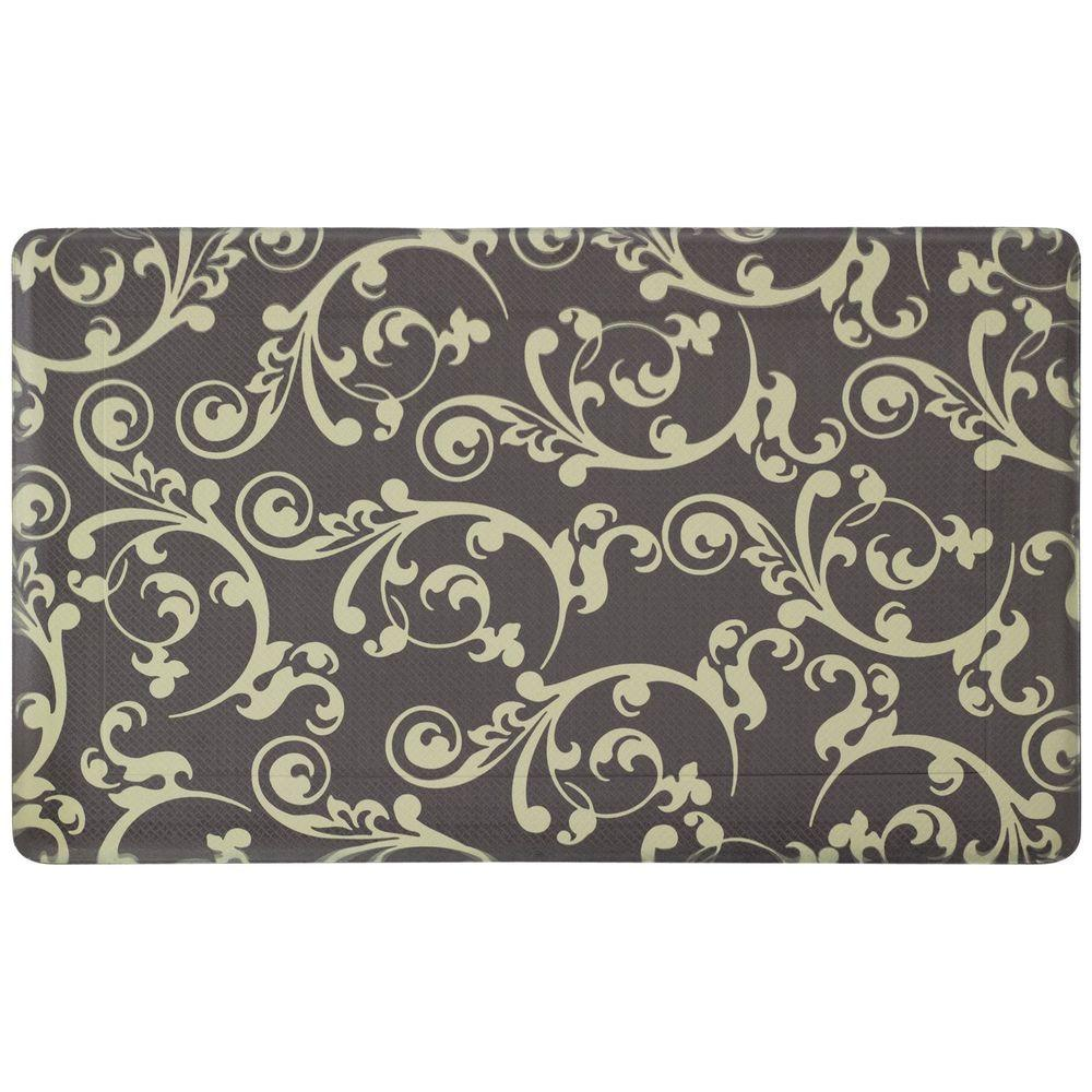 Cafe Jardin Decorative Mat: Chef Gear Figaro Black/Berber 18 In. X 30 In. Foam Comfort