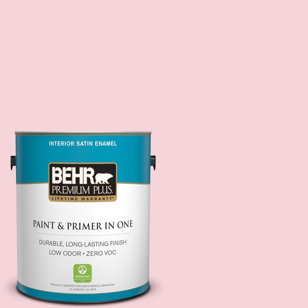 BEHR Premium Plus 1-gal. #120A-3 Lovelight Zero VOC Satin Enamel Interior Paint