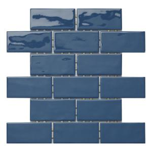 LuxeCraft 12 in. x 12 in. x 6.35mm Blue Ceramic Brick Joint Mosaic Tile (0.83 sq. ft. / piece)