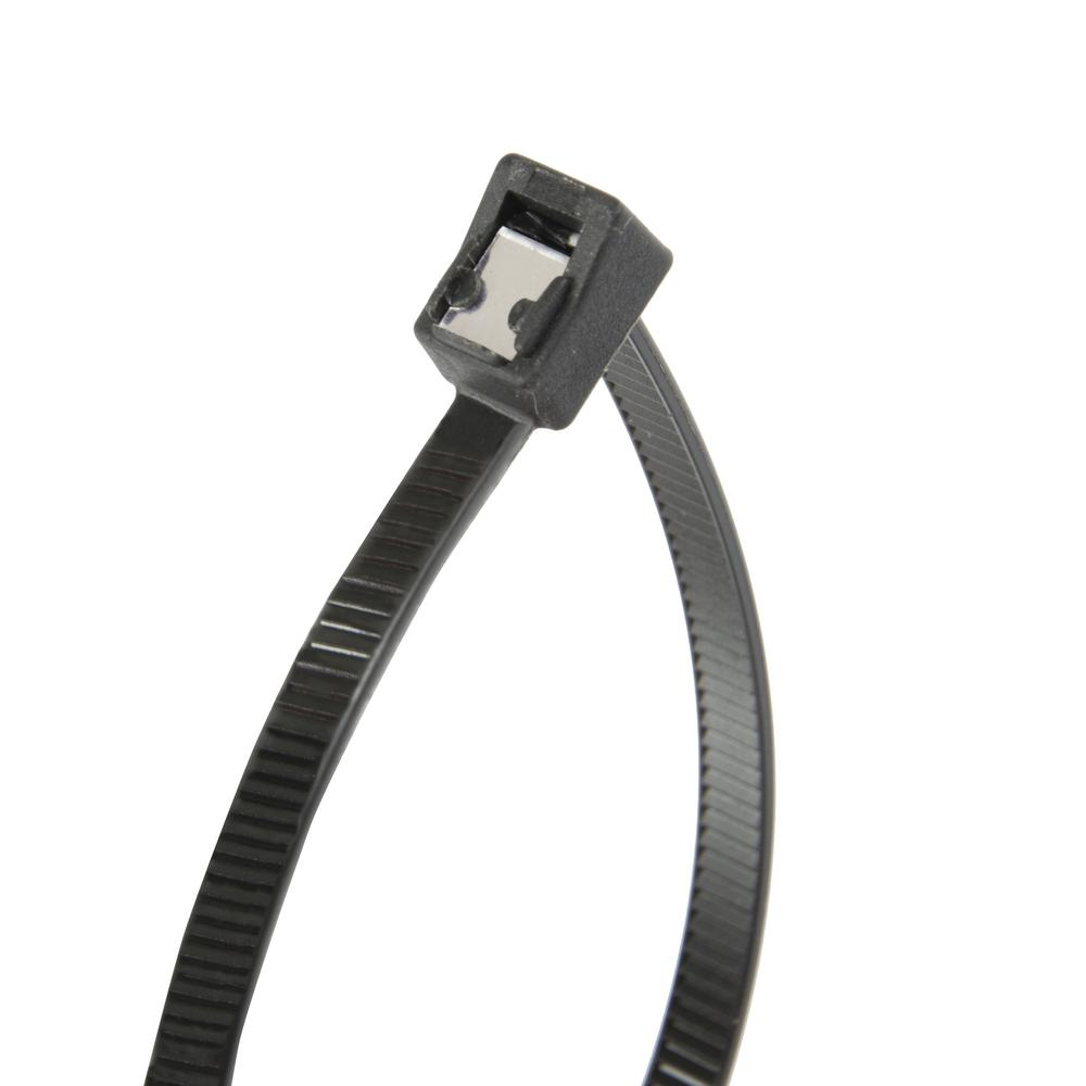 8 in. Self Cutting Cable Tie Black 50lb (50-Pack) Case of