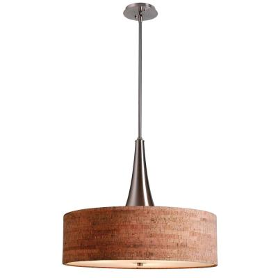 Bulletin 3-Light Brushed Steel Ceiling Pendant with Cork Shade