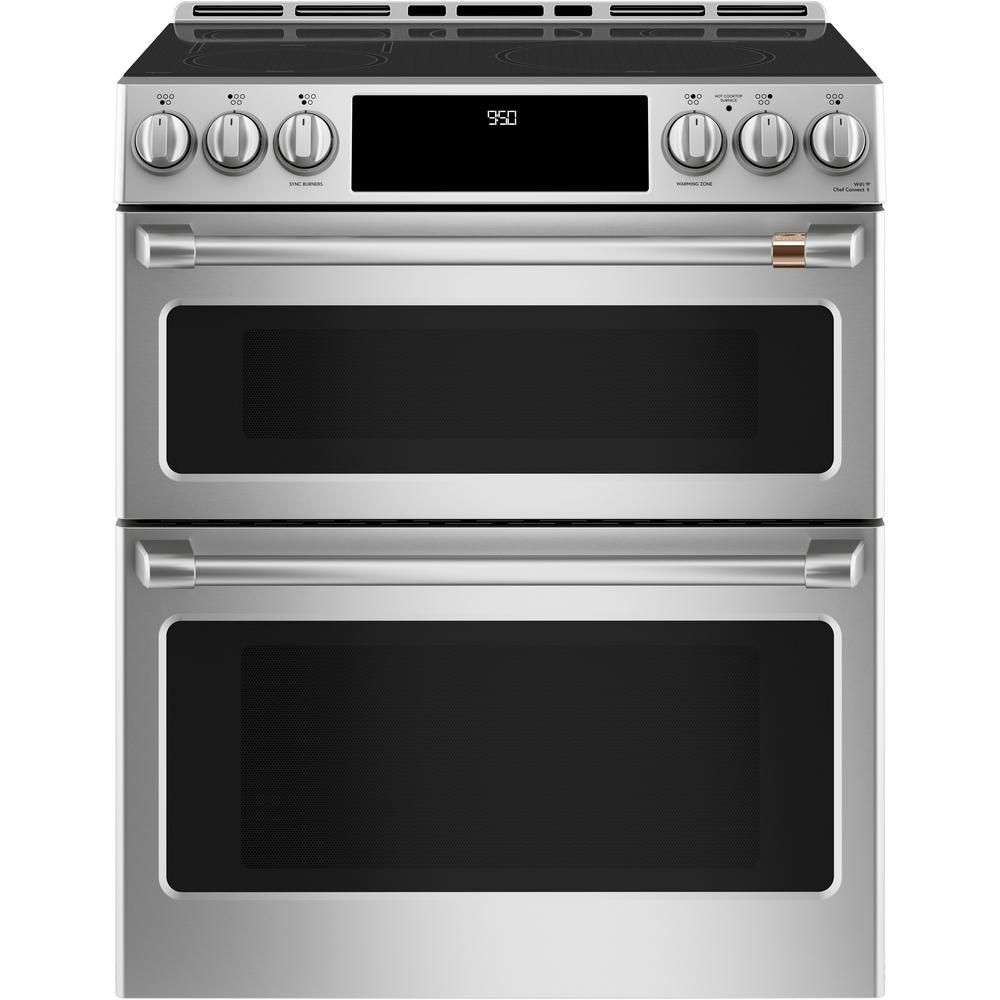 6.7 cu. ft. Smart Slide-In Double Oven Induction Range with Self-Cleaning and Convection Lower Oven in Stainless Steel