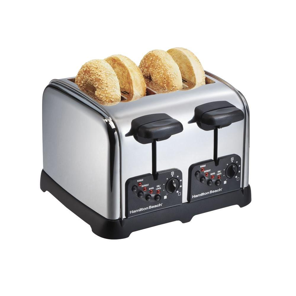 Hamilton Beach 4 Slice Chrome Toaster The Home Depot
