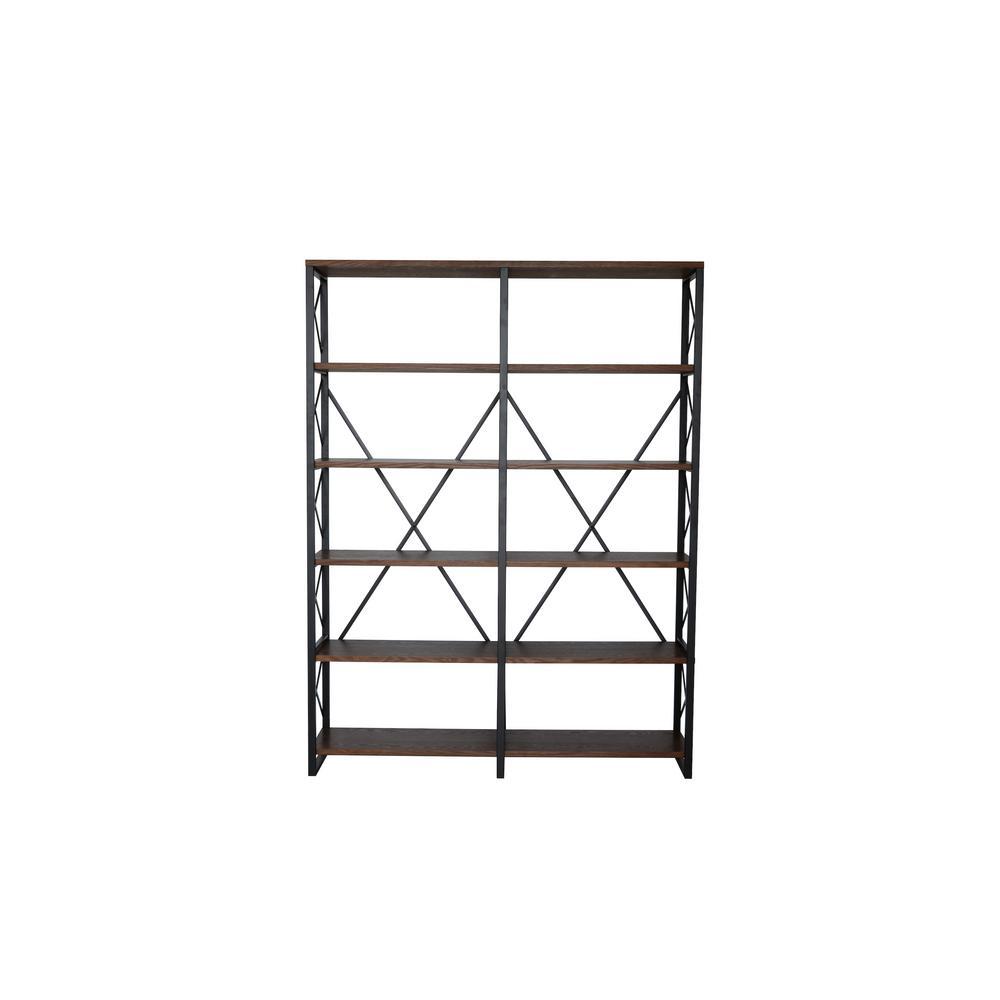 80 in. Walnut Brown/Black Metal 5-shelf Etagere Bookcase with Open Back