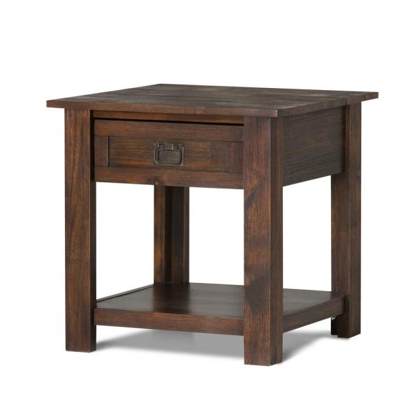 Monroe Solid Acacia Wood 22 in. Wide Square Rustic End Side Table in Distressed Charcoal Brown