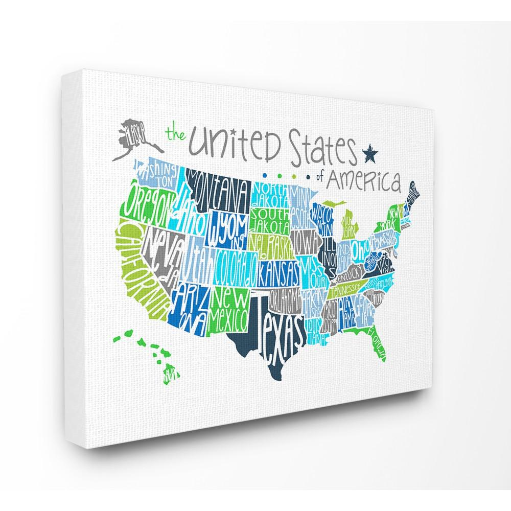 United States Map Canvas Wall Art.Stupell Industries 16 In X 20 In United States Map Colored
