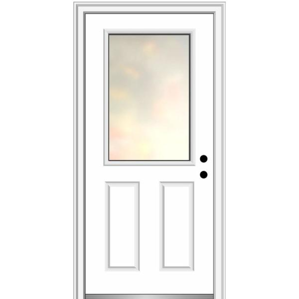 Mmi Door Blanca 32 In X 80 In Left Hand Inswing 1 2 Lite 2 Panel Primed Fiberglass Prehung Front Door With 4 9 16 In Frame Z0372291l The Home Depot
