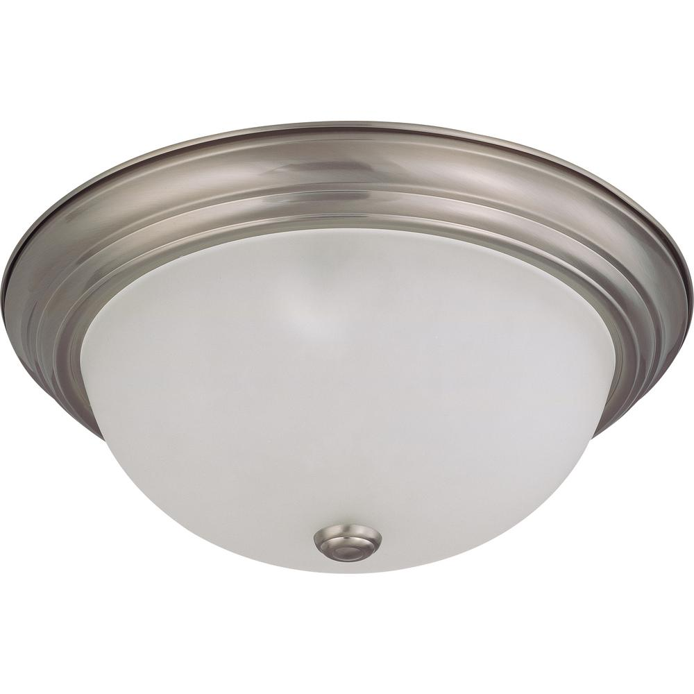 Green Matters 3 Light Flush Mount Brushed Nickel Dome Fixture