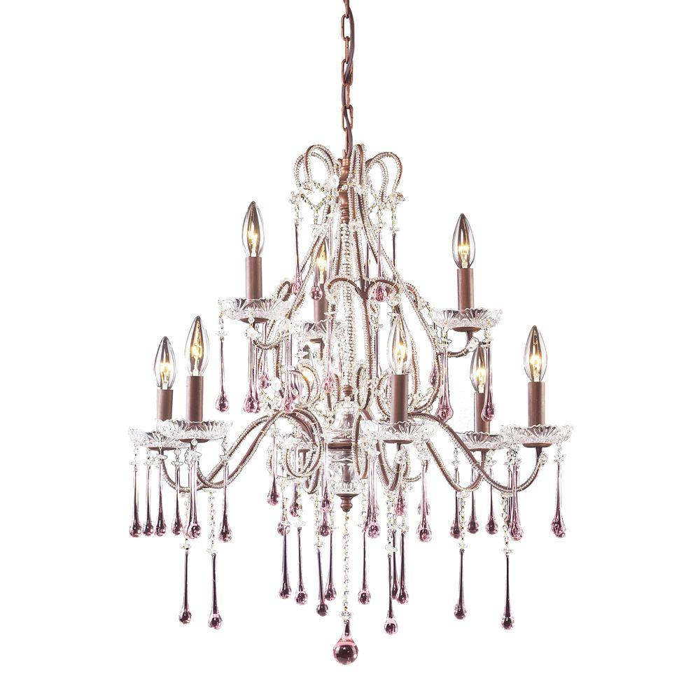 Titan Lighting Opulence 9-Light Aged Rust with Rose Crystal Ceiling Mount Chandelier