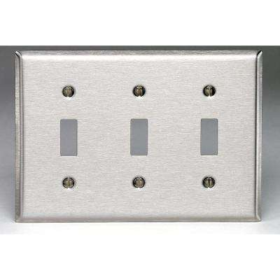 3-Gang 3-Toggle Standard Size Stainless Steel Wall Plate, Stainless Steel