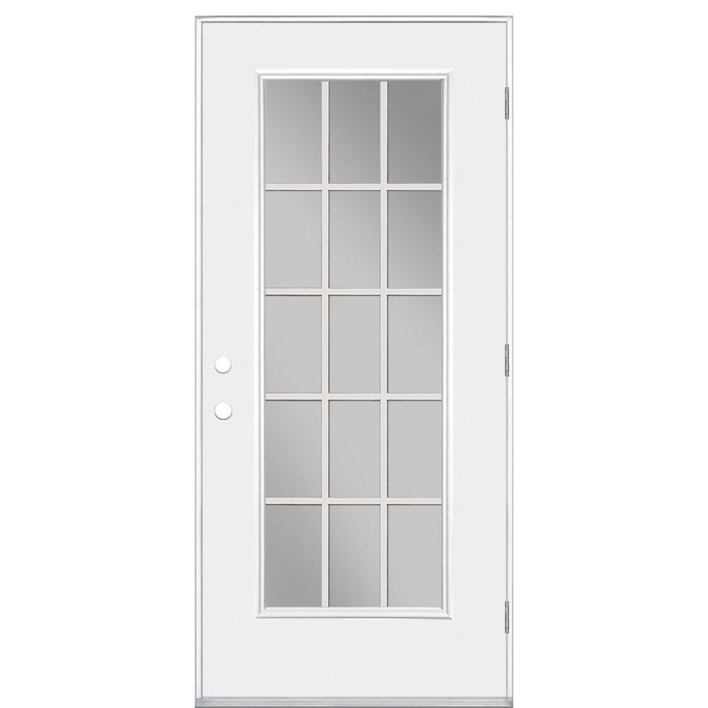 Masonite 32 in x 80 in full lite mini blind right hand for 15 lite exterior door with blinds