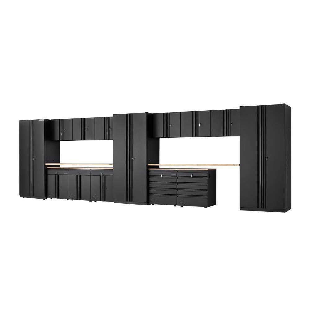 Heavy Duty Welded 276 in. W x 81 in. H x D 24 in. Steel Garage Cabinet Set in Black (16-Piece)