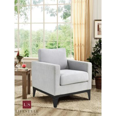 Delray Chair With Hardwood Frame & Quality Fabric, Light Grey
