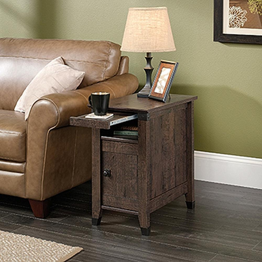 delightful Accent Tables For Living Room Part - 5: Carson Forge Coffee Oak Storage Side Table