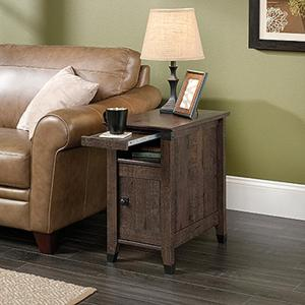 Sauder Carson Forge Coffee Oak Storage Side Table 420422