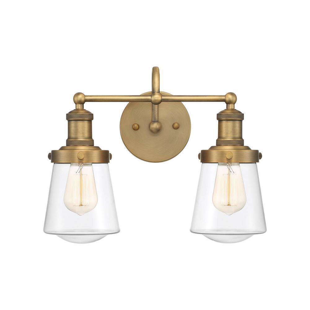 Taylor 2-Light Old Satin Brass Vanity Light