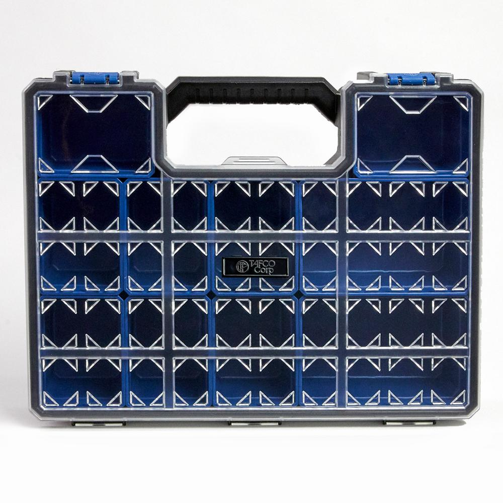 TAFCOProduct TAFCO Product 10-Compartment Pro-Go Deep Cup Small Parts Organizer, Blue, Blue / Black