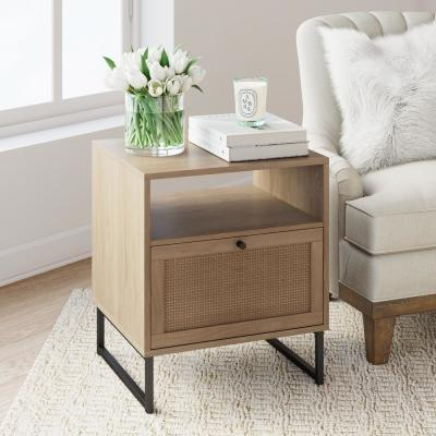 Mina Oak-Finish Particleboard Wood Black Modern Accent Storage Living Room Sofa Side End Table Bedroom Nightstand