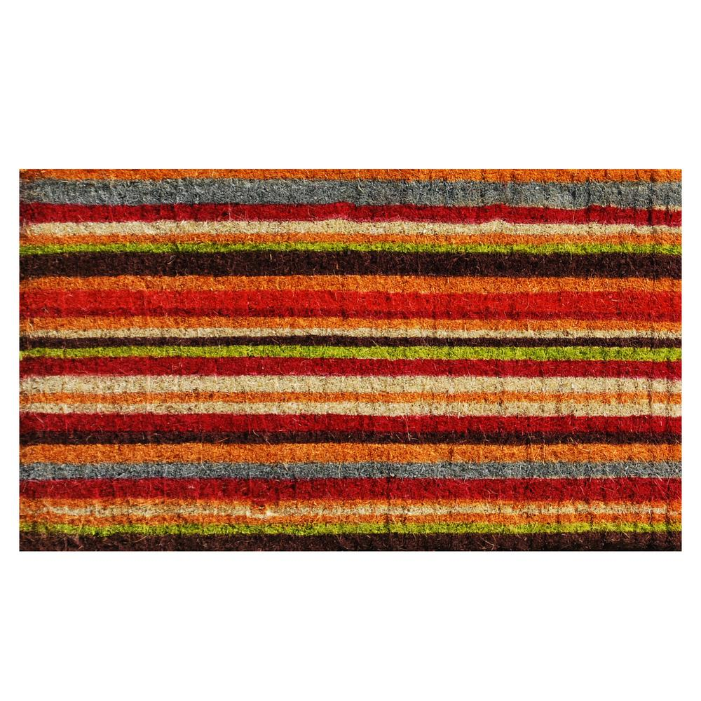 Natural Coir Stripe Door Mat 18 in. x 30 in.
