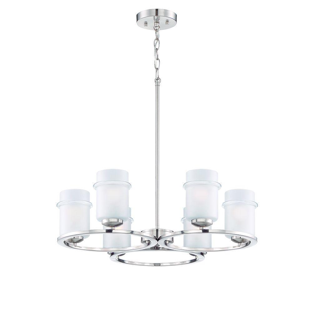 Omega 6-Light Satin Platinum Interior Incandescent Chandelier