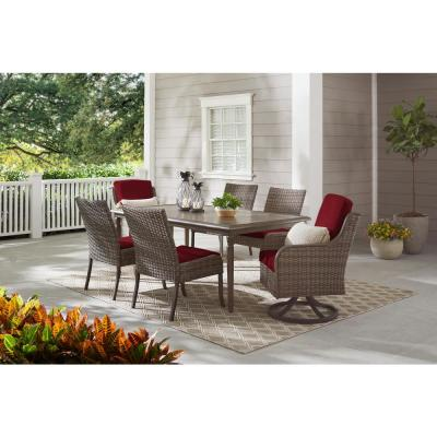 Windsor Brown Wicker Outdoor Patio Swivel Lounge Chair with CushionGuard Biscuit Tan Cushions (2-Pack)