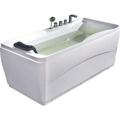 63 in. Acrylic Flatbottom Bathtub in White