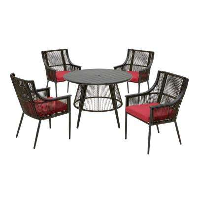 Bayhurst 5-Piece Black Wicker Outdoor Patio Dining Set with CushionGuard Chili Red Cushions