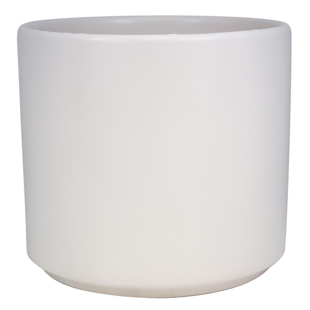 12 in. Matte White Ceramic Cylinder Planter