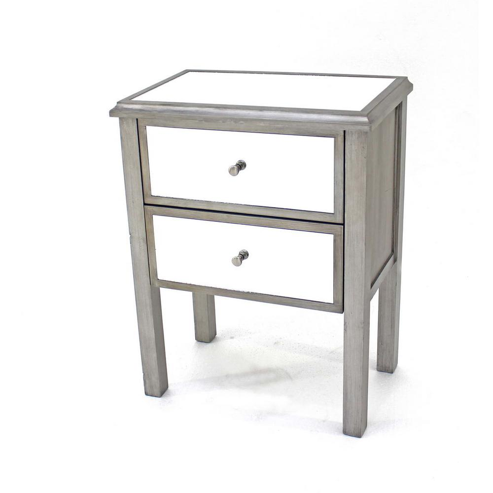 Merveilleux Grey Wood Mirror End Table With 2 Drawers