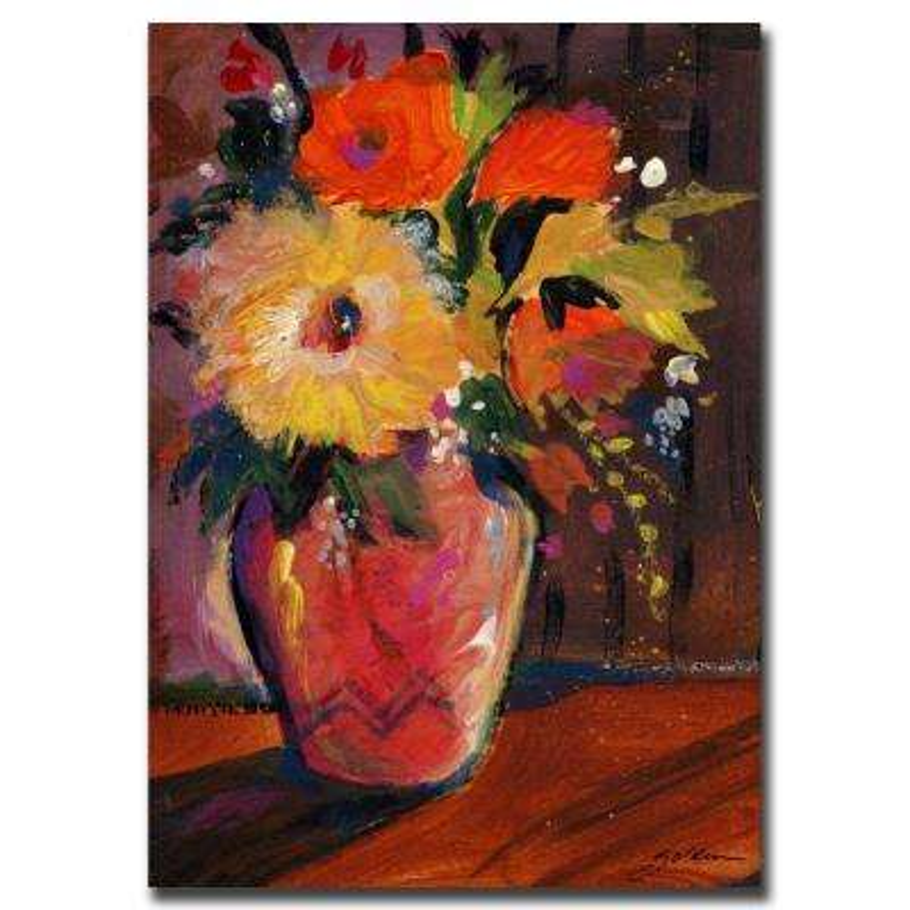 24 in. x 32 in. Orange Splash Bouquet Canvas Art