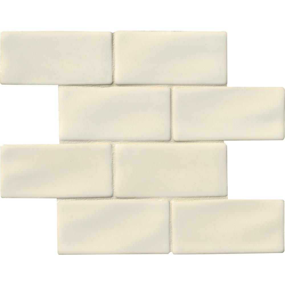 Subway 3x6 ceramic tile tile the home depot antique white 3 in x 6 in handcrafted glazed ceramic wall tile dailygadgetfo Image collections