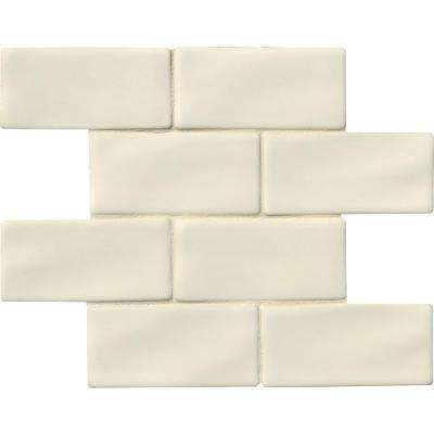 Antique White 3 in. x 6 in. Handcrafted Glazed Ceramic Wall Tile (1 sq. ft. / case)