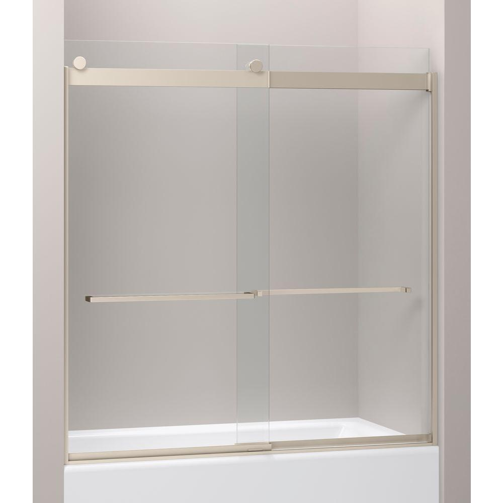KOHLER Levity 28-1/8 in. x 62 in. Frameless Sliding Shower Door in Nickel with Handle