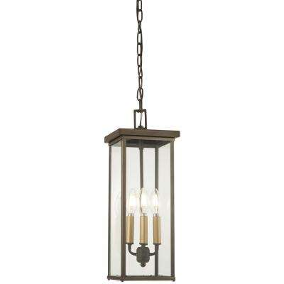 Casway 4-Light Oil Rubbed Bronze with Gold Highlights Outdoor Wall Mount Lantern