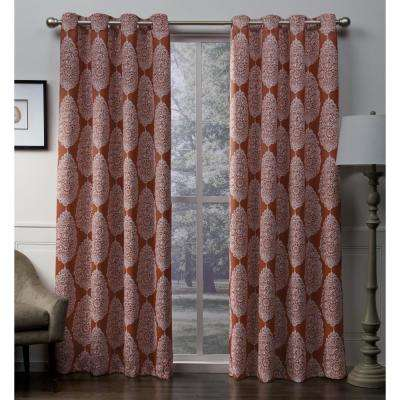 Queensland 52 in. W x 96 in. L Woven Blackout Grommet Top Curtain Panel in Mecca Orange (2 Panels)