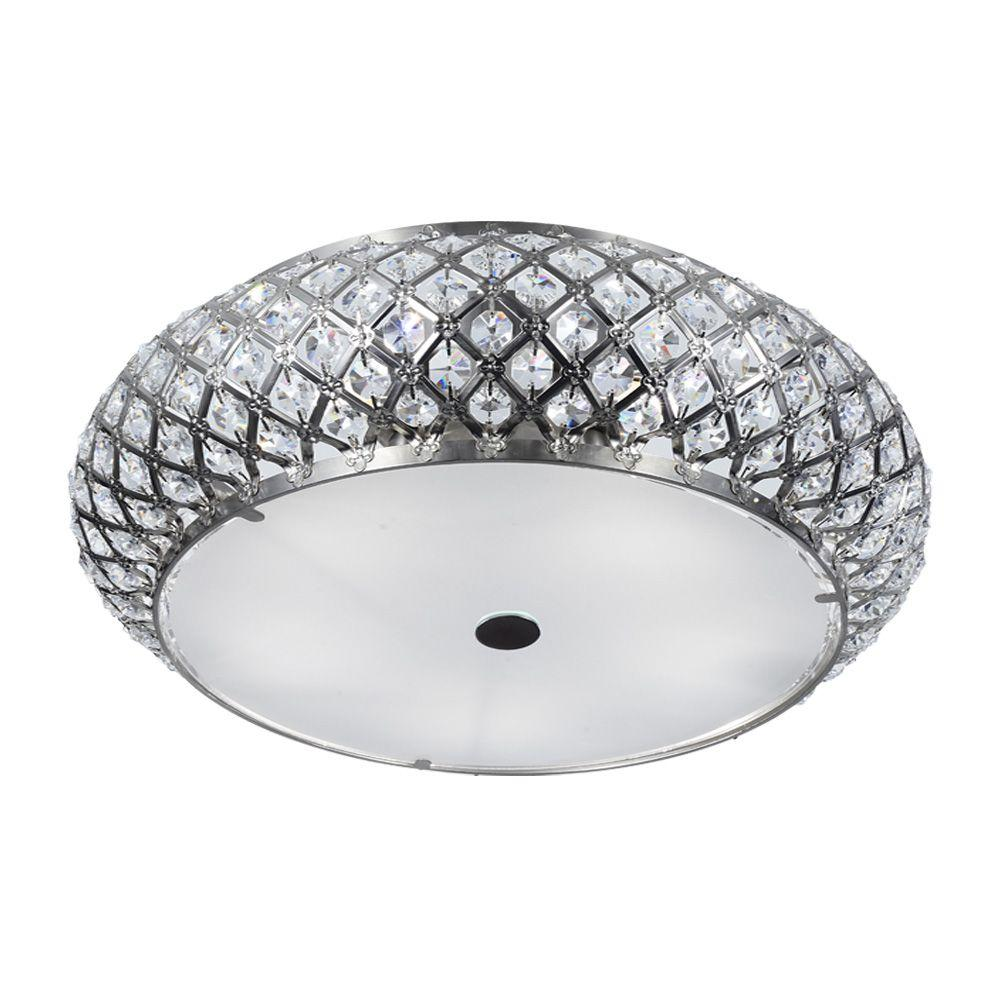 5 Light Brushed Stainless Steel Round Flush Mount With Gl Accents
