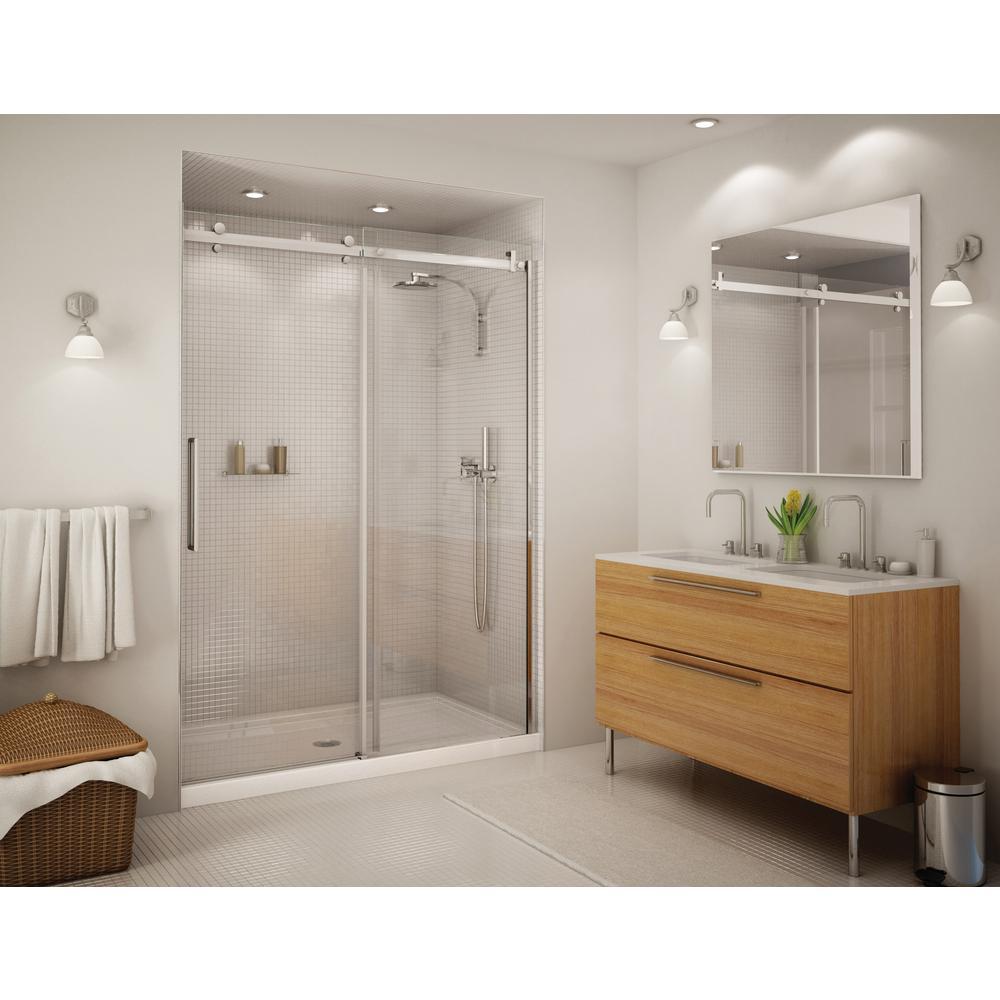 Aquatic Alpine 56 5 in  - 59 in  x 75 in  Frameless Sliding Shower Door in  Chrome