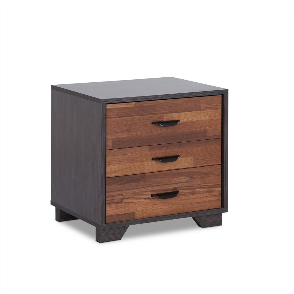 3 Drawer Nightstand Space saving Bedroom Storage Bed