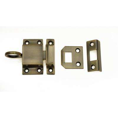 Solid Brass Transom Catch in Antique Brass