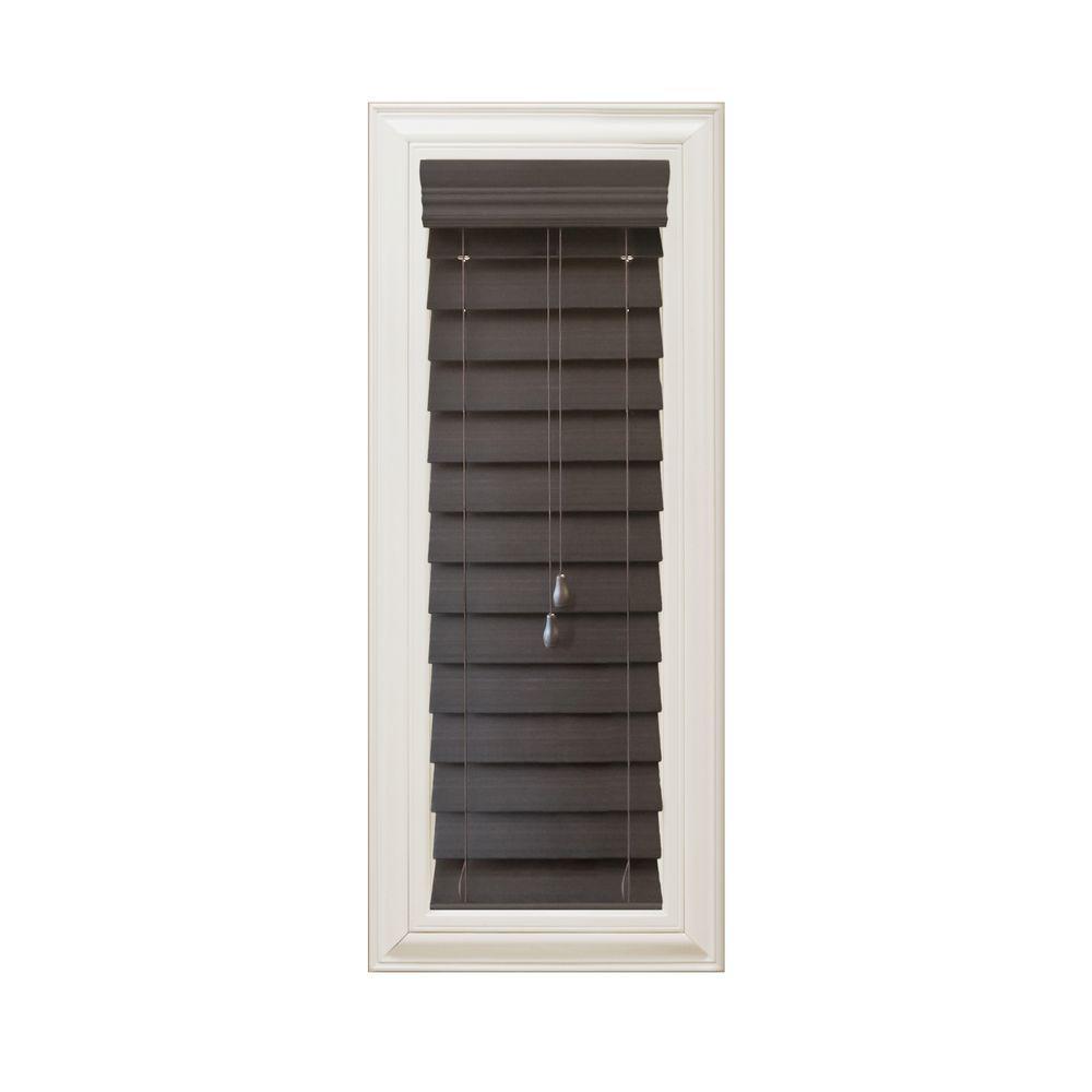 Home Decorators Collection Espresso 2-1/2 in. Premium Faux Wood Blind - 13 in. W x 72 in. L (Actual Size 12.5 in. x W 72 in. L)