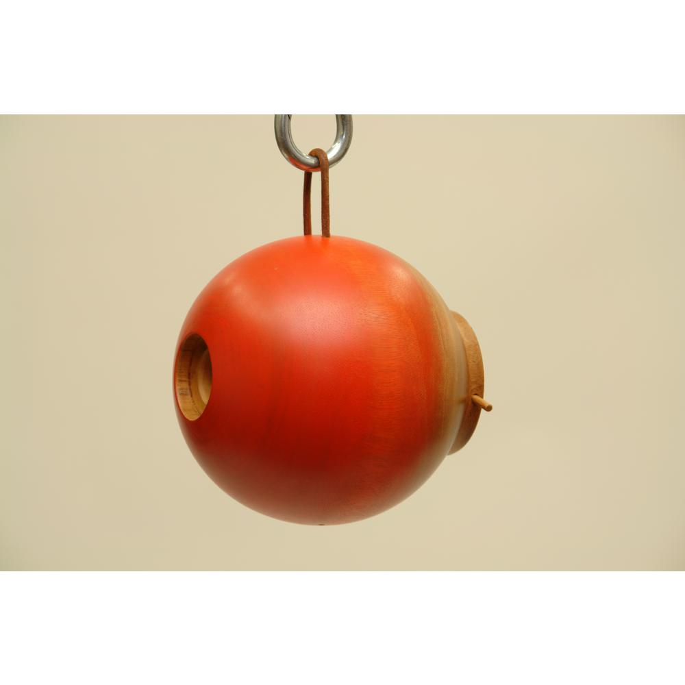 8 in. Orange Mango Wood Globe Bird House