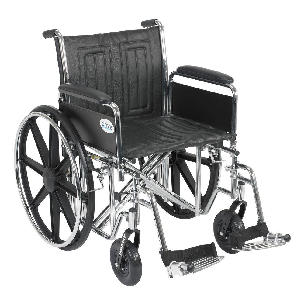 Sentra EC Heavy Duty Wheelchair with Full Arms, Swing Away Footrest